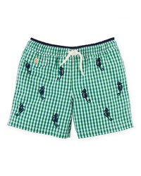 Ralph Lauren Gingham Traveler Swim Trunks Green