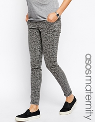 Asos Maternity Ridley Skinny Jean In Leopard Print With Under The Bump Waistband
