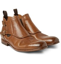 Alexander Mcqueen Washed Leather Monk Strap Boots Brown
