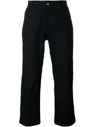 Mow Frayed Trim Flared Cropped Trousers Black