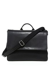Shinola Leather Flap Messenger Bag Black