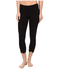Hue Eyelet Hem Cotton Capri Black Women's Capri
