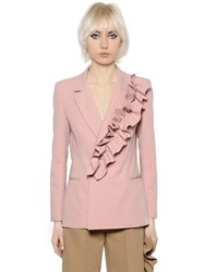 Msgm Stretch Crepe Jacket W Ruffle