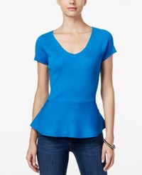 Inc International Concepts V Neck Peplum Sweater Only At Macy's Caribe Blue