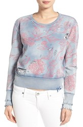 Women's True Religion Brand Jeans Distressed Floral Print Sweatshirt