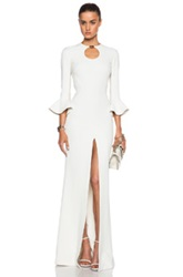 David Koma Short Peplum Sleeve Gown In White