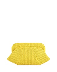 Lauren Merkin Tatum Raffia Snap Top Clutch Yellow