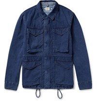 Faherty Indigo Dyed Cotton Ripstop Field Jacket Blue