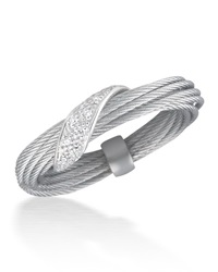 Alor Micro Cable Pave Diamond Wrap Ring Gray