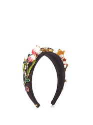 Dolce And Gabbana Citta Floral Embellished Headband Black Multi