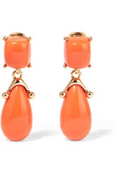 Kenneth Jay Lane Gold Tone Resin Clip Earrings Coral