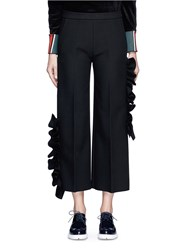 Msgm Asymmetic Ruffle Trim Cropped Wide Leg Pants Black