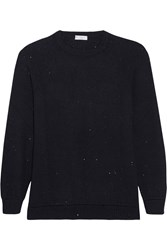 Brunello Cucinelli Sequin Embellished Cashmere And Silk Blend Sweater Navy