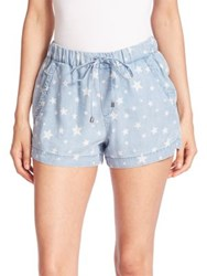 Splendid Chambray Star Print Shorts Light Wash