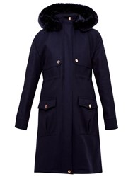 Ted Baker Eggle Hooded Wool Parka Coat Navy