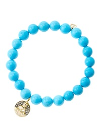 8Mm Turquoise Beaded Bracelet With 14K Gold Diamond Sitting Buddha Charm Made To Order