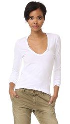 Enza Costa Brushed Jersey U Neck Top White