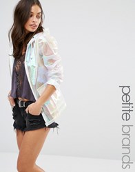 Missguided Petite Holographic Rain Coat White