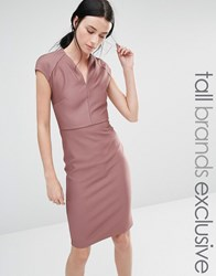 Y.A.S Tall All Over Rib Bodycon Dress Mauve Pink