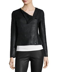 My Tribe Asymmetric Zip Leather Striped Jacket Black