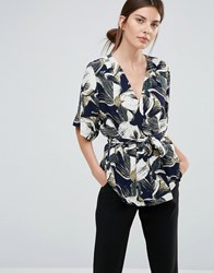 Just Female Blossom Wrap Blouse Blue