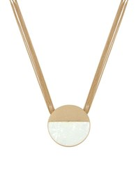 Kenneth Cole Palm Desert Circle Shell Pendant Necklace White