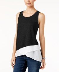 Inc International Concepts Asymmetrical Layered Look Tank Top Only At Macy's Deep Black