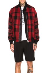 Sacai Blouson In Red Checkered And Plaid