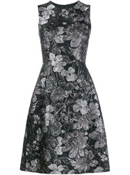 Dolce And Gabbana Floral Cloque Dress Grey