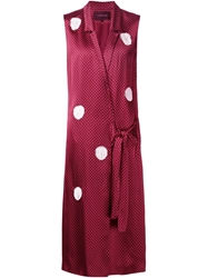 Thakoon Polka Dot Wrap Dress Red