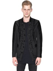 Christophe Terzian Embroidered Wool And Leather Jacket