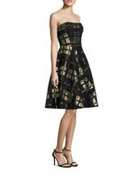 Badgley Mischka Plaid Strapless Fit And Flare Dress Black Gold