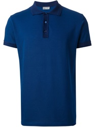 Christian Dior Dior Homme Contrast Collar Polo Shirt Blue
