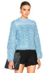 Fendi Cable Silk Mohair Sweater In Blue