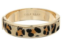 Cole Haan Wide Hinged Leather Inlay Bangle Gold Micro Cheetah Pony Hair Bracelet Animal Print