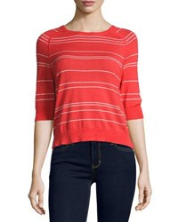 Todd And Duncan Cashmere Blend Striped Top Red White