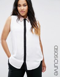 Asos Curve Sleeveless Blouse With Embellished Collar And Contrast Placket White