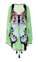 Yuliya Magdych Butterfly With Eyes T Shirt Mini Dress Green