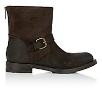 Barneys New York Women's Back Zip Moto Boots Dark Brown