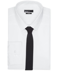 Bar Iii Slim Fit White Solid Dress Shirt And Black Solid Tie