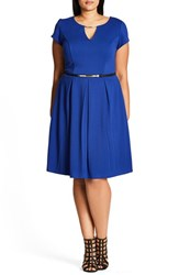 City Chic Plus Size Women's Chih Lovely Luxe Belted Fit And Flare Dress