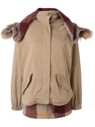 Semicouture 'Colyn Short Parka' Coat Nude Neutrals