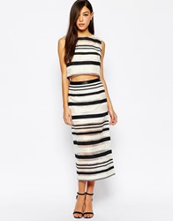 Jovonna Zebra Pencil Skirt With Zip Front In Stripe Black