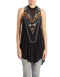 Free People Embroidered Racerback Tunic Black