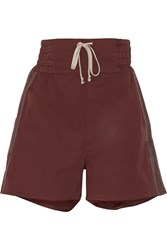 Rick Owens Canvas Trimmed Cotton Blend Shorts Red