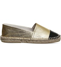 Office Lucky Leather Espadrilles Gold Black Leather