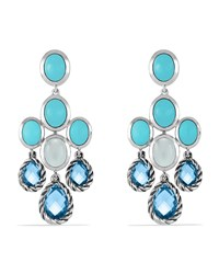 Chandelier Earrings With Blue Topaz Turquoise And Milky Quartz David Yurman Silver