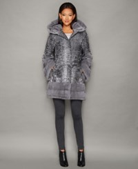 The Fur Vault Mink Fur Trim Hooded Persian Lamb Coat