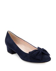 Kate Spade Molly Suede Pumps With Bow Accent Navy Blue