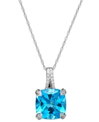 Macy's Swiss Blue Topaz 4 Ct. T.W. And Diamond Accent Pendant Necklace In 14K White Gold